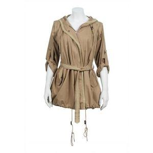 Nicholas K Hooded Short Tan Trench Coat Jacket S